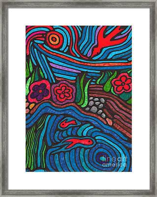 Psychedelic Garden 3 Framed Print by Sarah Loft