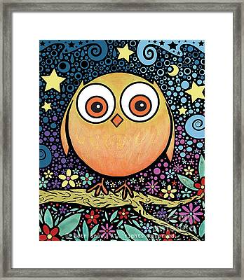Psychedelic Owl Framed Print by Beth Snow