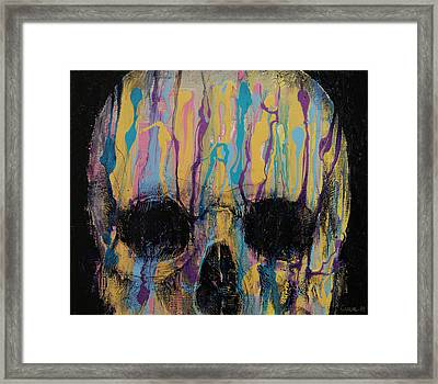 Psychedelic Skull Framed Print by Michael Creese