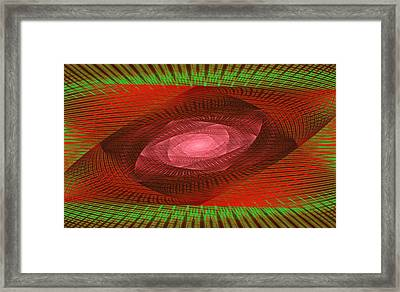 Psychedelic Spiral Vortex Green And Red Fractal Flame Framed Print by Keith Webber Jr