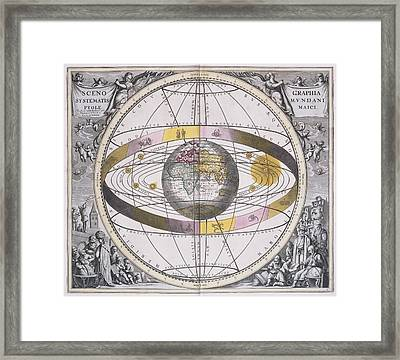 Ptolemaic Worldview, 1708 Framed Print by Science Photo Library