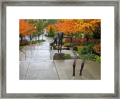 Public Art And Fall Color At The Arena Framed Print by Daniel Hagerman