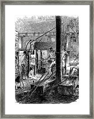 Puddling Furnace And Mechanical Hammer Framed Print by Universal History Archive/uig