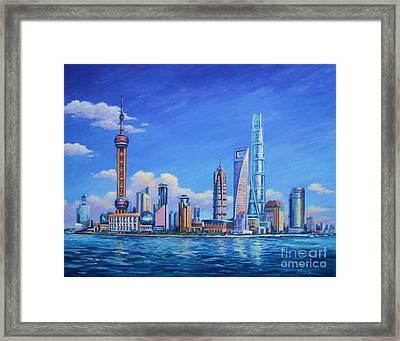 Pudong Skyline  Shanghai Framed Print by John Clark