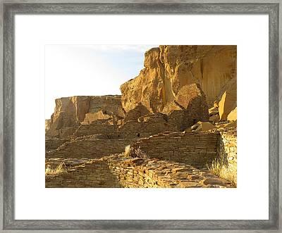 Pueblo Bonito And Cliff Framed Print by Feva  Fotos