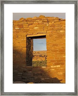 Pueblo Bonito Through A Doorway Framed Print by Feva  Fotos