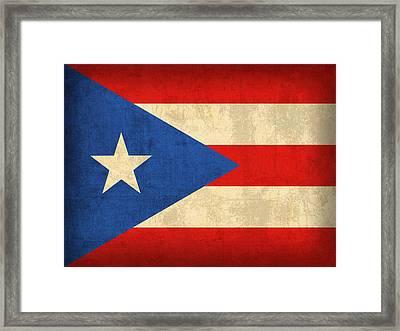 Puerto Rico Flag Vintage Distressed Finish Framed Print by Design Turnpike