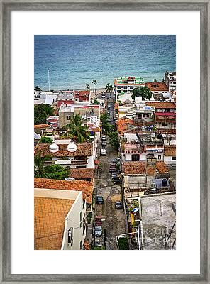 Puerto Vallarta Street Framed Print by Elena Elisseeva