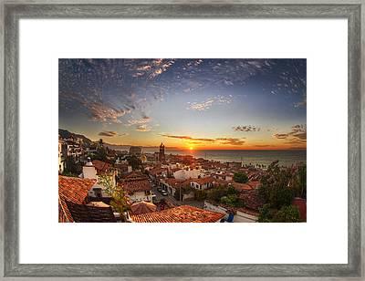 Puerto Vallarta Sunset Framed Print by Shanti Gilbert