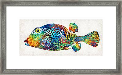 Underwater Diva Framed Print featuring the painting Puffer Fish Art - Puff Love - By Sharon Cummings by Sharon Cummings