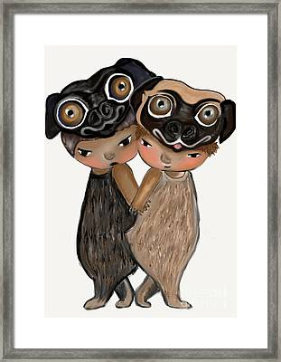 Pug Brothers Framed Print by Beatrice Ajayi