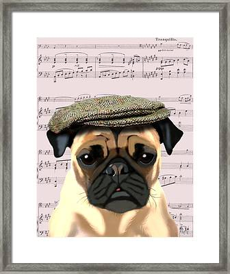 Pug In A Flat Cap Framed Print by Kelly McLaughlan