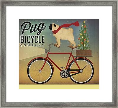 Pug On A Bike Christmas Framed Print by Ryan Fowler