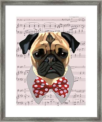 Pug With Bow Tie Framed Print by Kelly McLaughlan