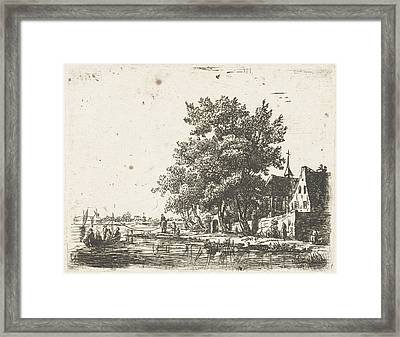 Pull Barge At A Monastery, Pieter Casper Christ Framed Print by Artokoloro