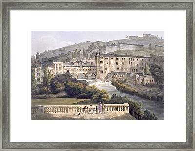 Pulteney Bridge, From Bath Illustrated Framed Print by John Claude Nattes