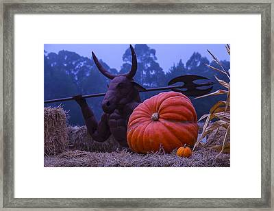 Pumpkin And Minotaur Framed Print by Garry Gay