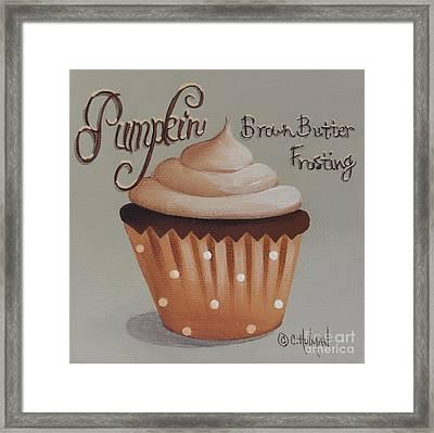 Pumpkin Brown Butter Frosting Cupcake Framed Print by Catherine Holman