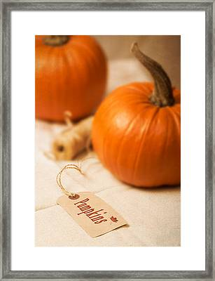 Pumpkin Label Framed Print by Amanda And Christopher Elwell