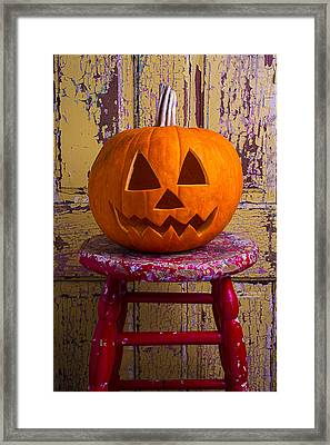 Pumpkin On Red Stool Framed Print by Garry Gay