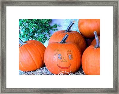 Pumpkin Smile Framed Print by Rosalie Scanlon