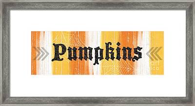 Pumpkins Sign Framed Print by Linda Woods