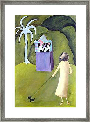 Punch And Judy, 1983 Oil On Canvas Framed Print by Celia Washington