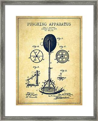 Punching Apparatus Patent Drawing From 1895 -vintage Framed Print by Aged Pixel