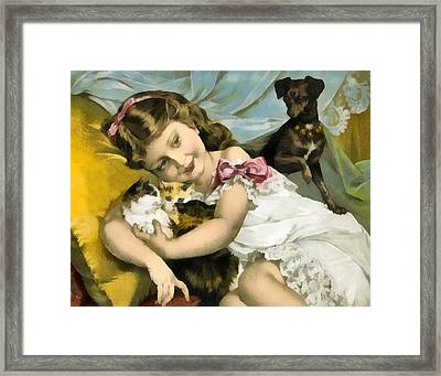 Puppies Kittens And Baby Girl Framed Print by Vintage Trading Cards