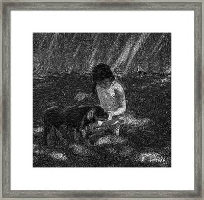 Puppy Love Framed Print by Mayhem Mediums