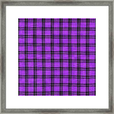 Purple And Black Plaid Textile Background Framed Print by Keith Webber Jr