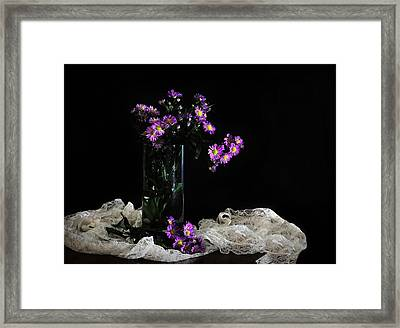Purple And Lace Framed Print by Diana Angstadt