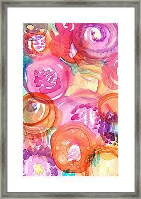 Purple And Orange Flowers Framed Print by Linda Woods