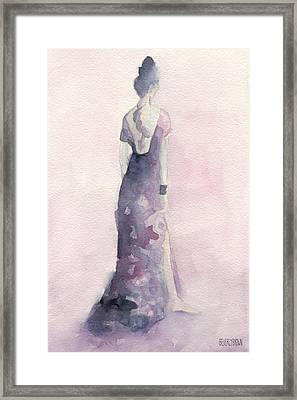 Purple And Pink Evening Dress Watecolor Fashion Illustration Framed Print by Beverly Brown Prints