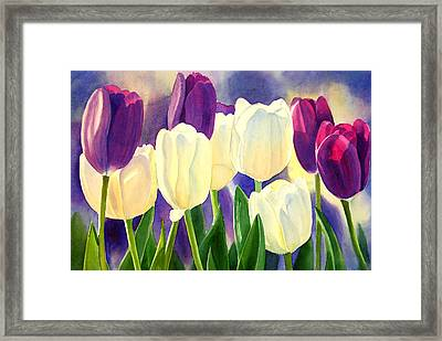 Purple And White Tulips Framed Print by Sharon Freeman