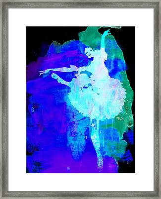 Purple Ballerina Watercolor Framed Print by Naxart Studio