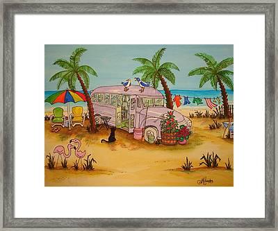 Purple Bus On Beach Framed Print by Joyce M Jacobs
