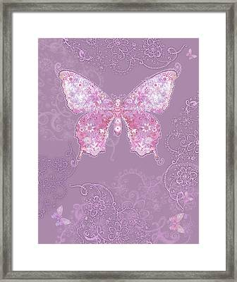Purple Butterfly Floral Framed Print by Alixandra Mullins