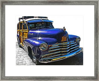 Purple Chevrolet Woody Framed Print by Samuel Sheats