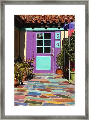 Purple Door Framed Print by Art Block Collections