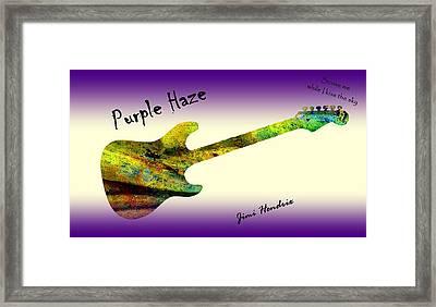 Purple Haze Scuse Me While I Kiss The Sky Hendrix Framed Print by David Dehner