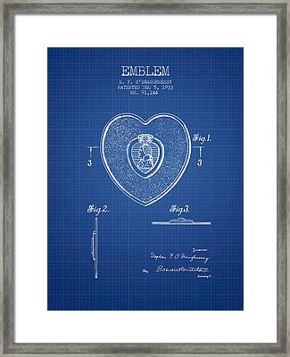 Purple Heart Patent From 1933 - Blueprint Framed Print by Aged Pixel