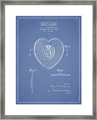 Purple Heart Patent From 1933 - Light Blue Framed Print by Aged Pixel