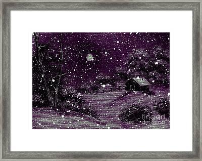 Purple Night Full Moon Framed Print by Barbara Griffin