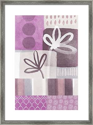 Purple Patchwork- Contemporary Art Framed Print by Linda Woods