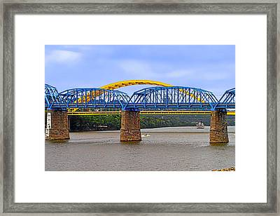Purple People Bridge And Big Mac Bridge - Ohio River Cincinnati Framed Print by Christine Till