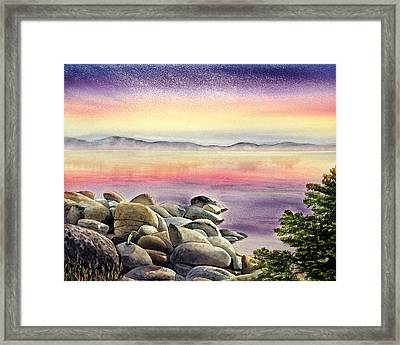 Purple Sunset At The Lake Framed Print by Irina Sztukowski