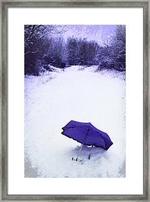 Purple Umbrella Framed Print by Amanda Elwell