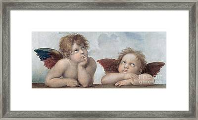 Putti Detail From The Sistine Madonna Framed Print by Raphael