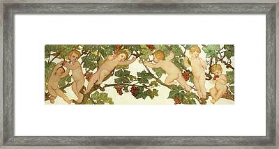 Putti Frolicking In A Vineyard Framed Print by Phoebe Anna Traquair
